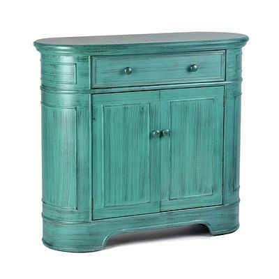 Wood Teal Oval Storage Cabinet Console by Kirklands $280