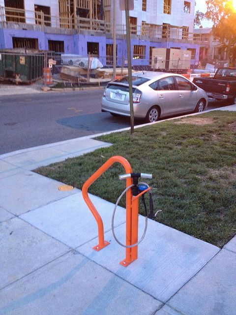 Bike Rack with Pump, Washington DC. Click image for details & visit the Slow Ottawa 'Nice Racks' board for more great lockups.