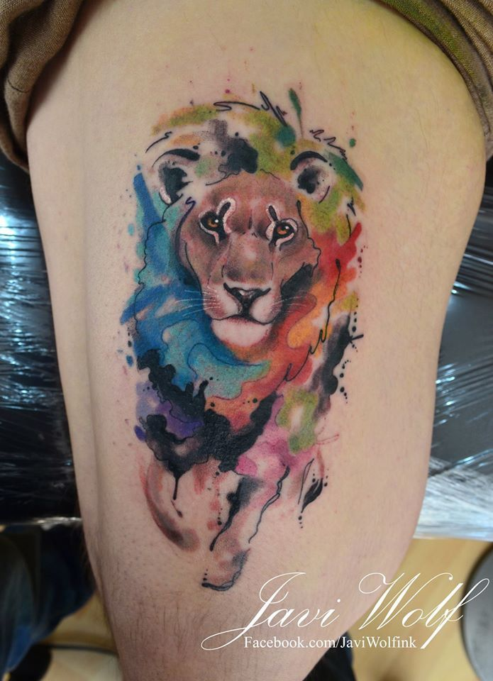 Watercolor + realism + sketch Lion Tattoo.Tattooed by javiwolfink​www.javiwolf.com