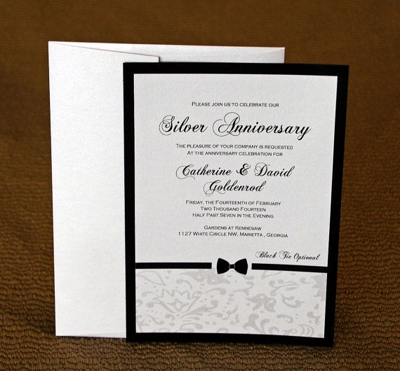 Classic Bow Tie Invitations - Perfect for Black Tie Party, Anniversary, Engagement, Wedding, Rehearsal Dinner