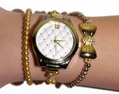 FREE SHIPPING, Watch and bracelet set, elegant gold and ivory wrist watch with stretchy adjustable band in clear tattoo bracelet with pearls
