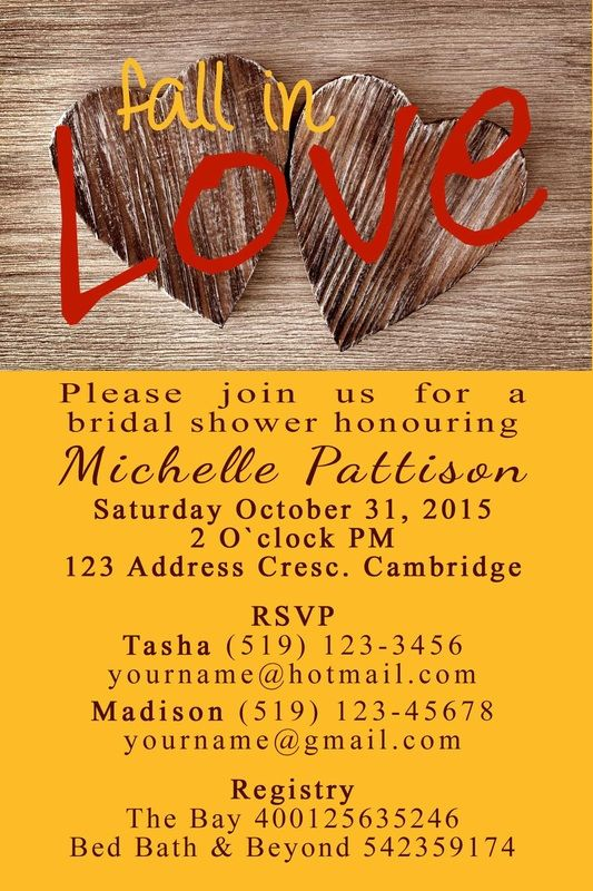 Fall In Love Bridal Shower invitation #beanandjean custom made with love