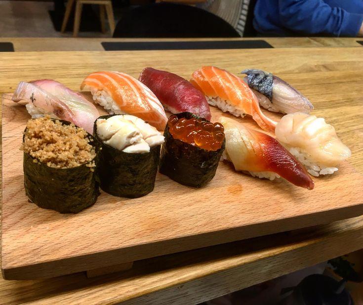 Nigiri set from upper left corner: Shima-Aji Sake Toro Yellowfin Zuke Akami Sake Hara Shime Saba Saba Ikura Saba Shirako Ikura Hokkigai Hotate :3 at Sushi-Ya Kielce Poland :)