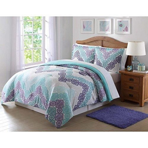 Girls Chevron Comforter Full Queen Set Pretty Medallion Flower Mandala Motif Bedding Floral Lace Horizontal Zigzag Themed Dark Navy Blue Teal Grey Off
