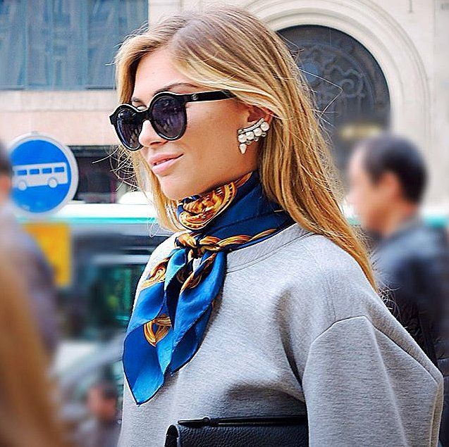 How to wear square silk scarves