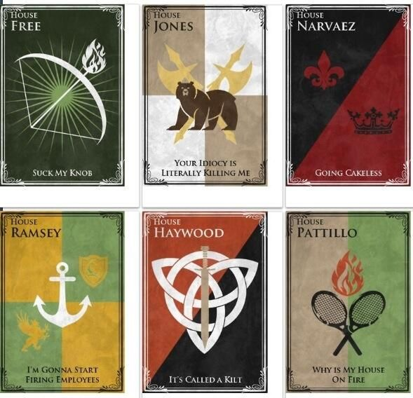 Rooster Teeth Achievement Hunter house sigils <== There needs to be more Achievement Hunter on Pinterest. I demand it!
