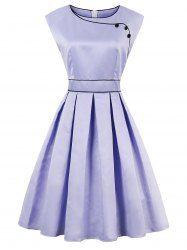 High Waist Sleeveless Faux Satin Vintage Dress Mobile