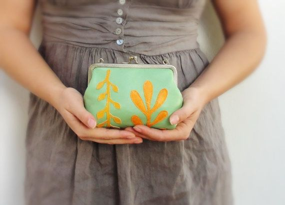 Ferns Leather Pouch Clutch Green and orange Applique by StarBags