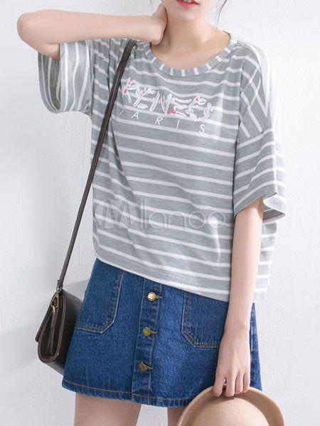 グレーのストライプ プリント コットン女性用 t シャツを特大 - Milanoo.jp