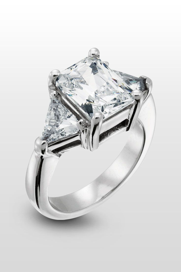 Timeless Radiant Cut Engagement Ring  This Threestone Engagement Ring Is  A Vision Of