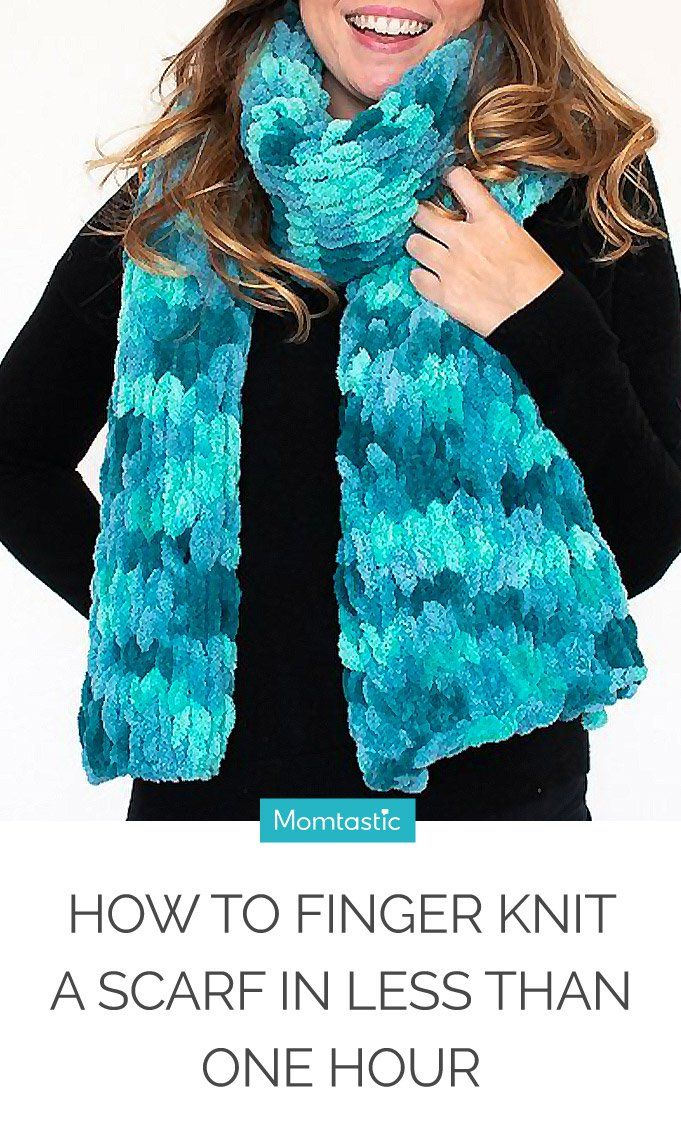 d6bdf8df993 How to Finger Knit a Scarf in Less Than One Hour   Finger knitting ...