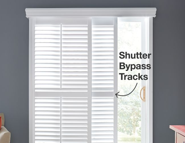 Bali Shutter Bypass Track Sliding Glass Door Blinds Sliding Glass Door Sliding Door Curtains