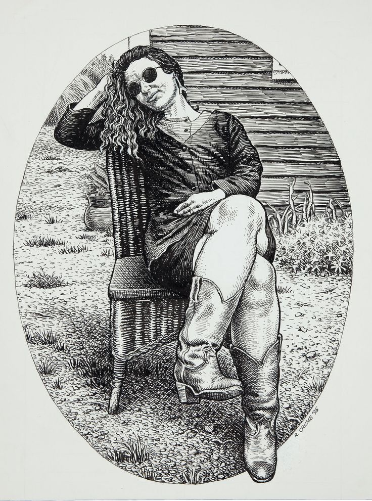 Original portrait by Robert Crumb of his wife, Aline Kominsky-Crumb, from Art & Beauty magazine #1, published by Kitchen Sink Press, 1996.