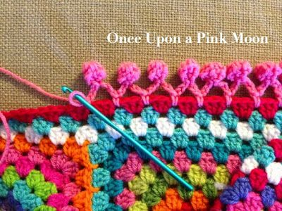 Once Upon A Pink Moon: Pom Pom Edge - tutorial to do this cute crochet edging