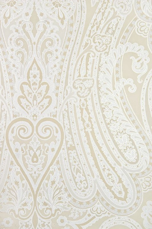 Mulberry Paisley Wallpaper Large, bold Paisley design wallpaper in Ivory and white with fine gold embellishment.