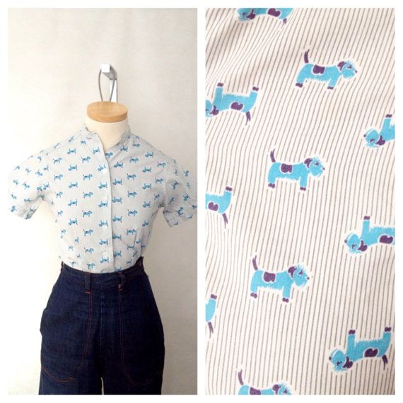 Vintage 1950s Novelty Terrier Dog print blouse XS by hipsmcgee