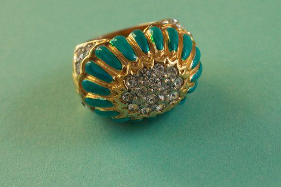 KJL smalto turchese e strass Vintage grosso anello anni di syrtis4