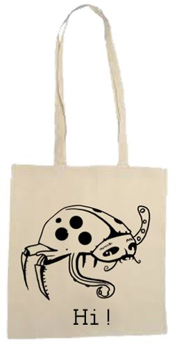 """Cool cotton bag, nice woman bag with cool illustration """" Hi ! """" Hand painted in Tooba Posters manufacture :) #bag #girl #woman #modern #fashion #cute #funny #tooba #posters"""