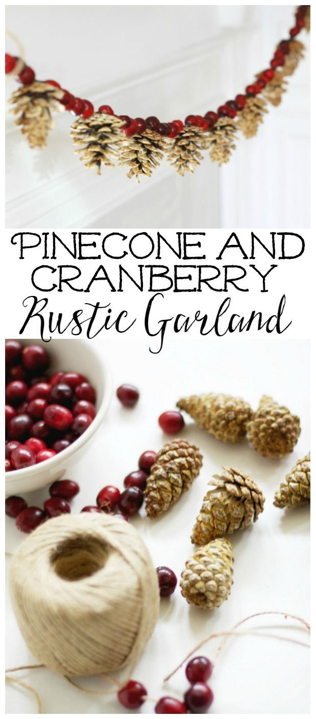This beautiful bleached pinecone and cranberry garland is perfect for your Christmas decorating or winter decor.
