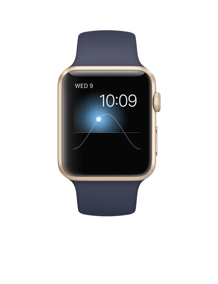 Apple Watch Sport Gold Aluminum Case with Band, Midnight Blue, 42 mm
