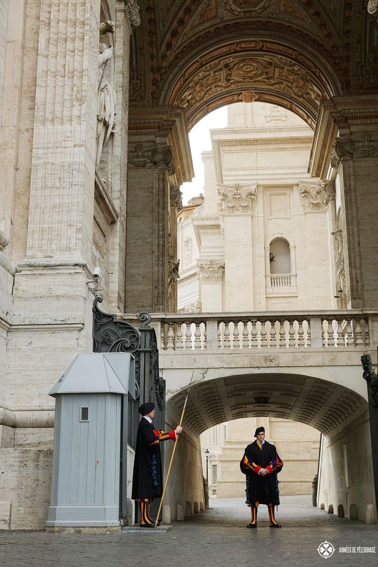 The Swiss Guard standing guard at the entrance to the Vatican