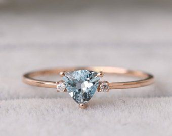Birthstone Ring, Aquamarine Stone, March Birthday, Anniversary Ring, 18K Rose Gold, Alternative Engagement Ring, Bridal Jewelry, Promise