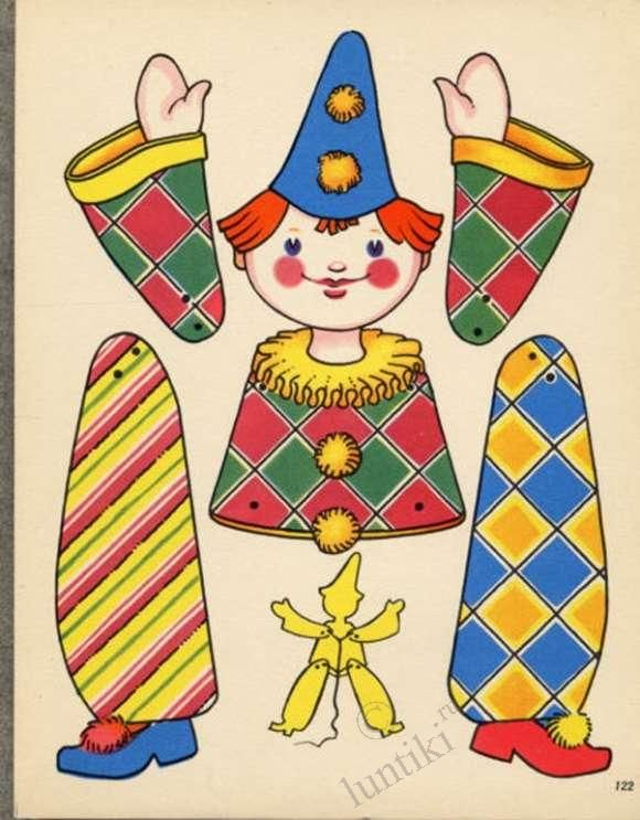 Children creativity. Movable paper puppets - clowns, hares, dogs and others