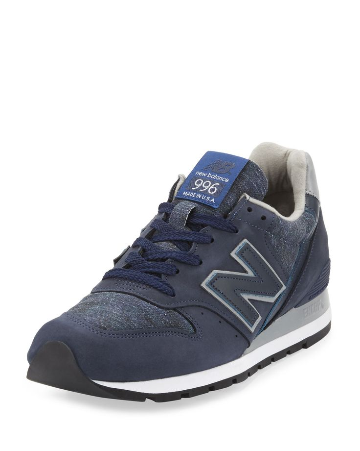 New Balance Mens 996 Distinct Age of Exploration Suede-Leather Sneaker,  Navy/Silver