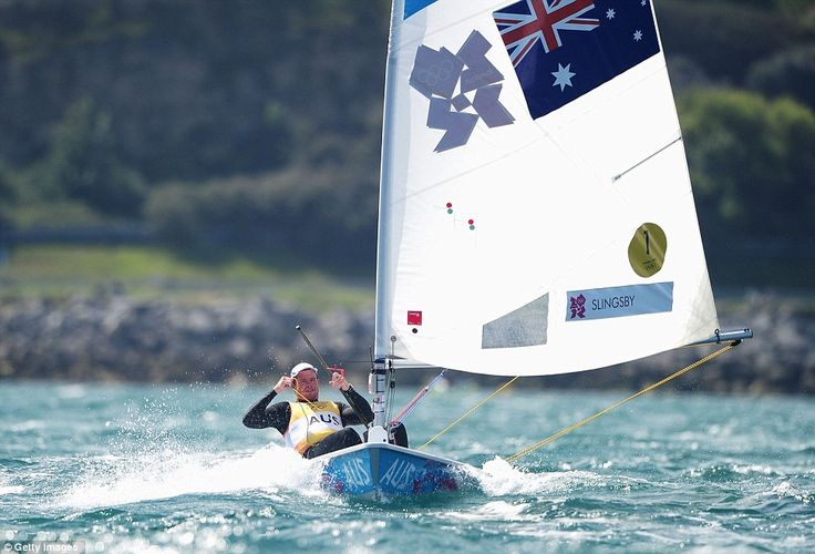 Tom Slingsby of Australia competes on his way to winning gold in the Men's Laser Sailing on Day 10 of the London 2012 Olympic Games at the Weymouth & Portland Venue at Weymouth Harbour