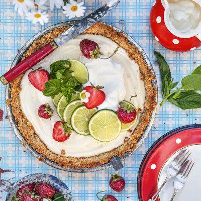 Key lime pie med jordgubbar