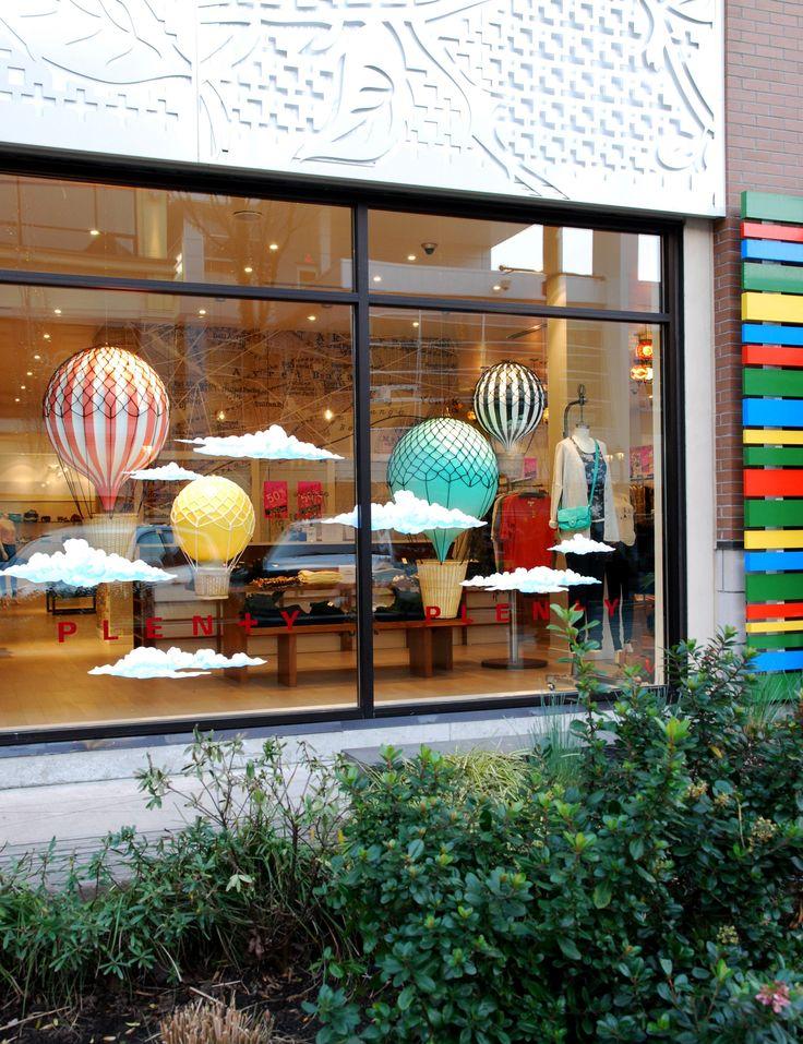Hot Air Balloon Window Display #windowdressing #windowdisplay