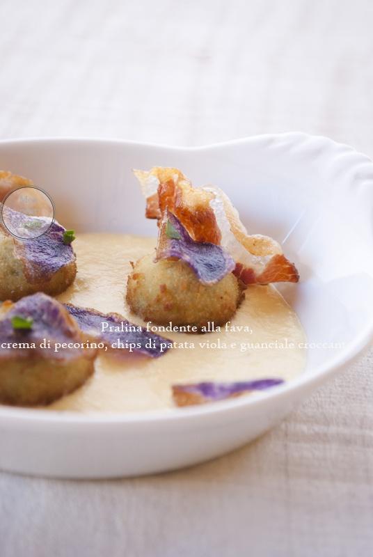 Pralina croccante di fava,crema di pecorino, chips di patate viola e guanciale croccante _mon petit bistrot