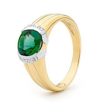 Buy our Australian made Created Emerald and Diamond Dress Ring - BEE-25394-G online. Explore our range of custom made chain jewellery, rings, pendants, earrings and charms.