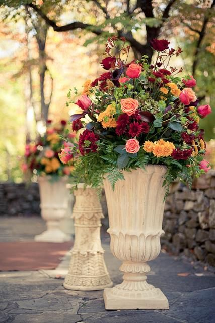burgandy, red, altar flowers - too fall?