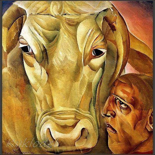 "Boris Grigoriev, ""Man with a bull"""