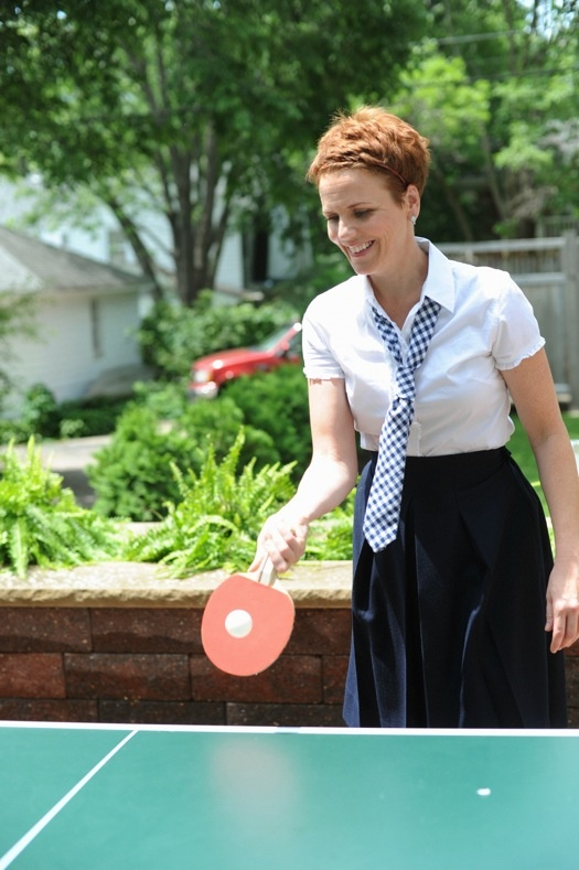Anne Cramer plays ping pong at home in Minnesota. (photo: Liz Banfield, Matchbook Magazine July 2011)Liz Banfield, Magazines July, Matchbook Magazines, Cramer Plays, Anne Cramer, July 2011, Plays Ping, Ping Pong, Pixie Cut