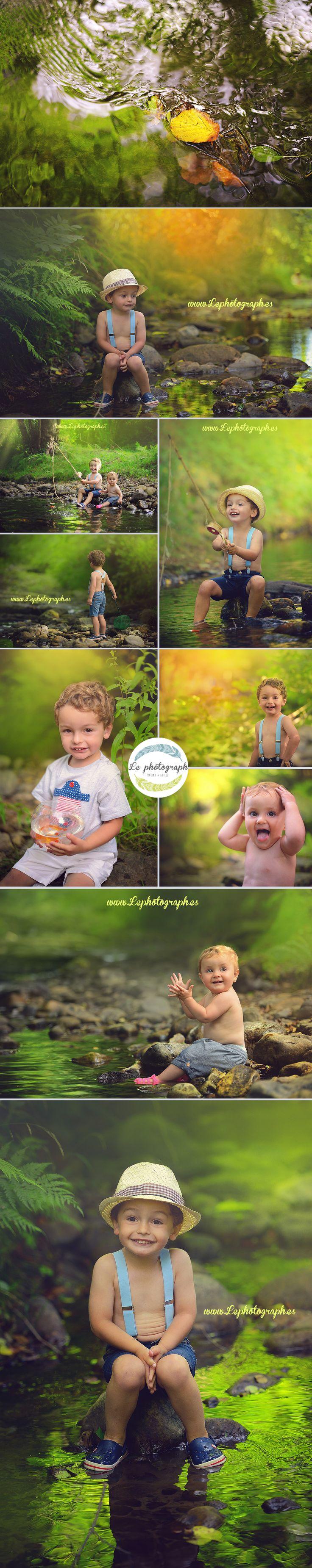 Sesión de fotos creativa en el río con niños - Children creative photoshoot in the river. Photography inspiration www.lephotograph.es