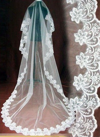 1TIER 1 LAYER CATHEDRAL LENGTH WEDDING VEIL WHITE IVORY LACE EDGE BRIDE MANTILLA