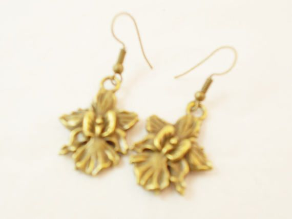 Bronze orchid flower modern everyday earrings by 10dollarjewellery #orchid #everydayearrings #flower