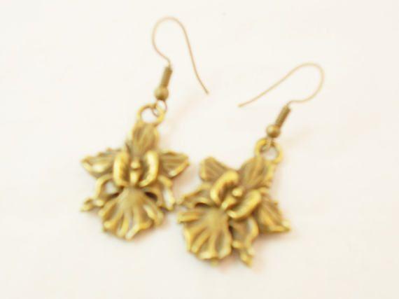 Bronze orchid flower modern everyday earrings by 10dollarjewellery #orchid #everydayearrings #flower