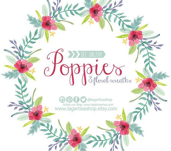 Marcos Flores en Acuarela Clipart PNG pintadas a por LagartixaShop #poppies #amapolas #papaveri #primavera #spring #florals #floralwreath #corona #watercolor #watercolour #etsy #lagartixa #invitations