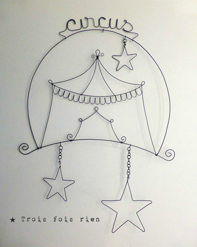D�coration murale circus, cirque fil de fer, �toiles fil de fer (1)
