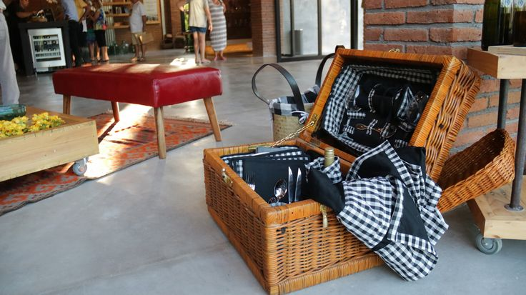 Luxury pic-nic basket. Signature wine accessories of Hatten Wines, Bali.  Find them at The Cellardoor, wine lifestyle boutique.