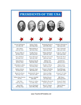 Four columns in a grid list all of the presidents of the United states of America in this free history printable. It is set against a colorful blue frame with red stars, and is adorned with pictures of five famous presidents, among them George Washington and Thomas Jefferson. Free to download and print