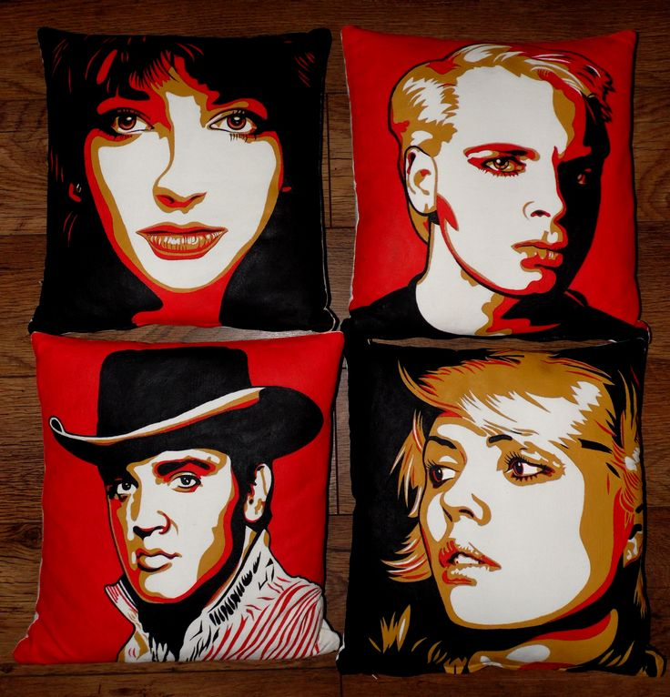 Hand painted Pop Art cushion covers