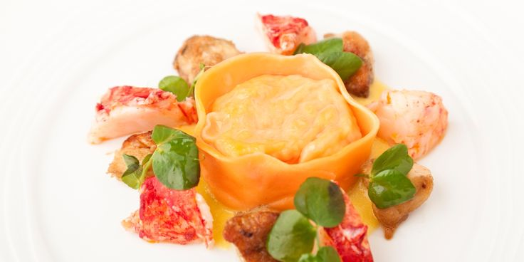 Lobster is encased in tortelloni and paired with roast chicken wings in this lobster recipe by Kevin Mangeolles. Sweetcorn purée adds…