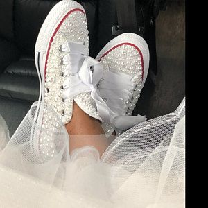 cheap for discount ddc11 76ce8 Heather Shelton added a photo of their purchase Bride Converse, Converse  Wedding Shoes, Wedding