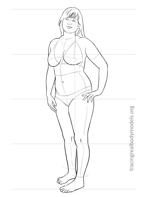 REAL BODY MODELS - Fashion model sketches trace real body plus sizes