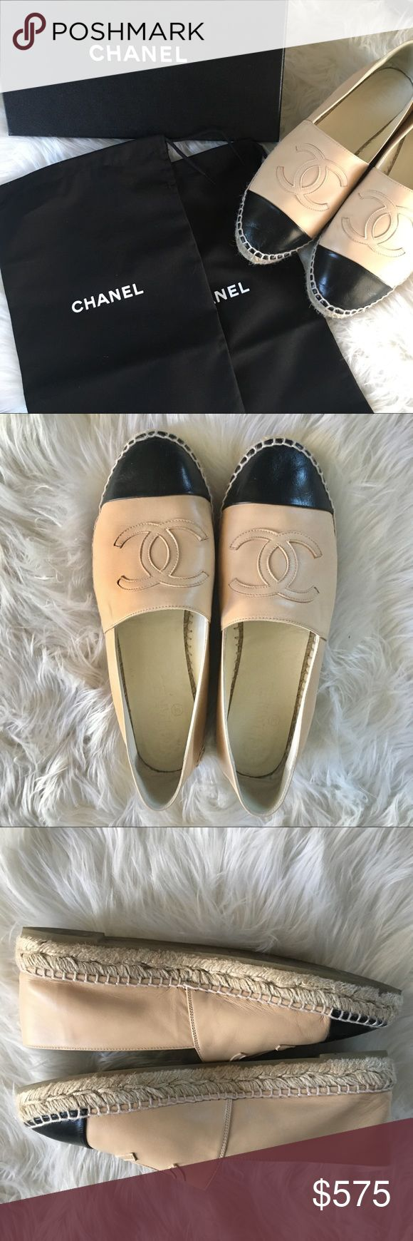 Chanel Espadrilles, cream and black, Size 40 Authentic Chanel espadrilles. Cream and black, lamb skin leather. Worn twice, almost new condition. Comes with original box and two shoe bags. Size 40 which for Chanel is a narrow 9. Always buy a size up for Chanel shoes! Price firm. CHANEL Shoes Espadrilles