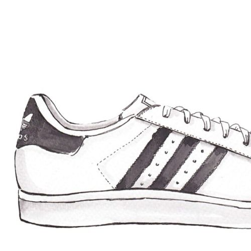 blue and yellow adidas trainers drawing